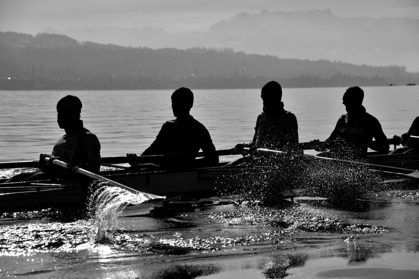 I shot this one in Zürich :) B&w Black Black And White Blackandwhite Dust Early Morning Rowing Splash Sports Sports Photography Water Ladyphotographerofthemonth EyeEm Best Shots EyeEm Best Shots - Black + White Eye4photography  Real People Zürich Showcase: January Fun Taking Photos Hello World Life In Motion Action Silhouette Light And Reflection