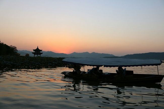 Sunset Hangzhou,China Light West Lake Boat