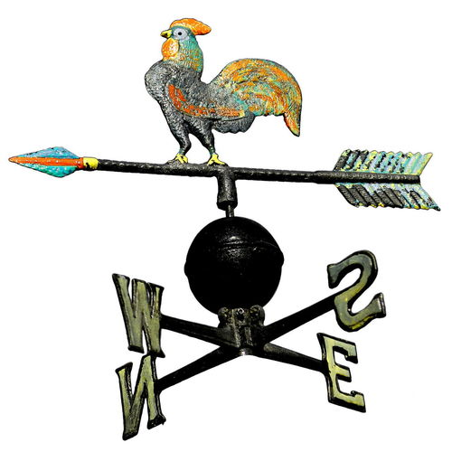 ancient weathervane with cock above an arrow and the cardinal points North East West South Weathercock Weather Weathervane Weatherchange Vane Cardinal North East West Symbol Wind Filter Direction Arrow Weather Vane Retro Animal Roof Still Life White Background