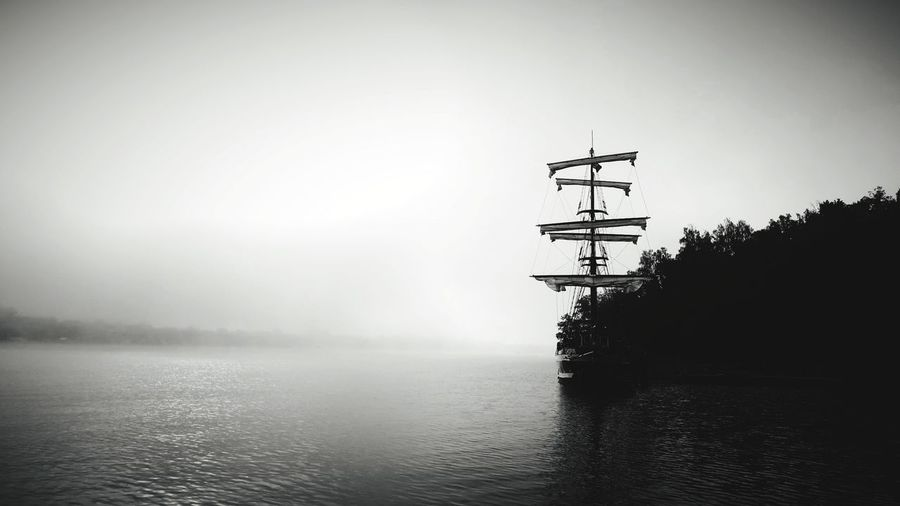 Sailboat Masuren Water Tree Fog Lake Silhouette Sky Landscape Foggy
