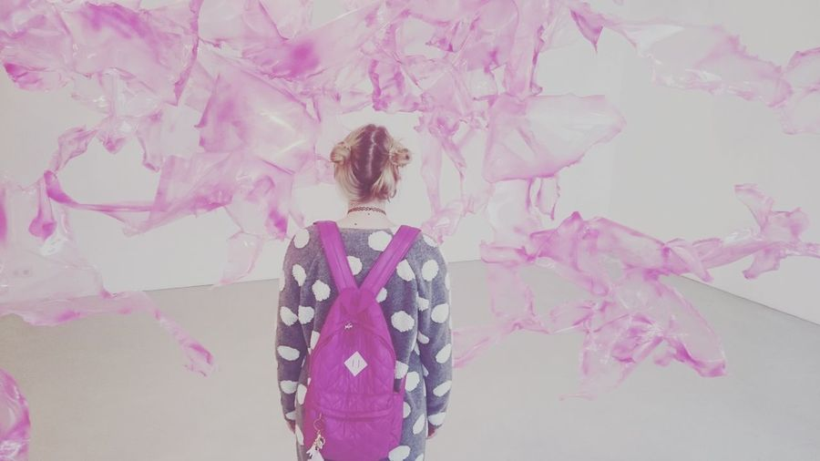 Wall - Building Feature Standing Rear View Pink Color Culture Full Frame In Front Of Bag Pink Lovely Girl Annanova Aljoscha Hair Conceptual Art Conceptual Photography  Conceptual