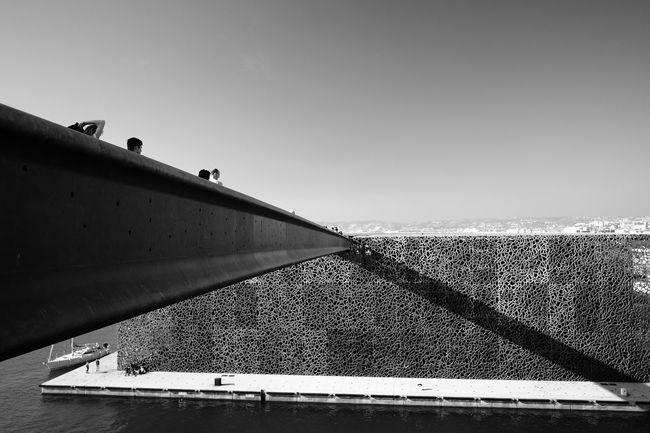 Bridge of Mucem Sky Water Day Sea Clear Sky Built Structure Architecture Sunlight Outdoors Horizon Horizon Over Water Bridge Architecture_collection Mucem Marseille Blackandwhite