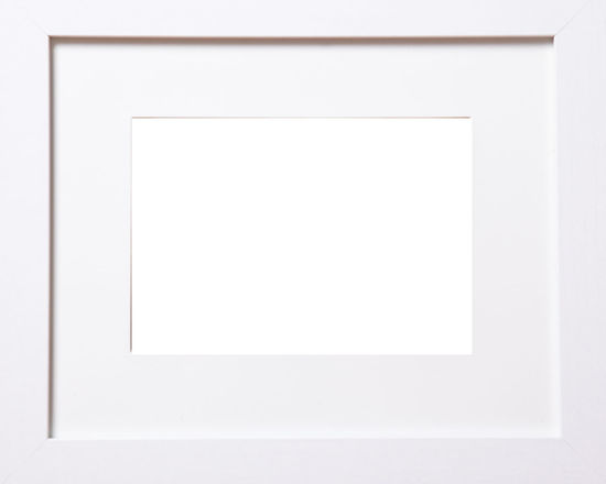 A white horizontal frame with white mat with an empty middle. Horizontal White Frame Absence Blank Copy Space Elégance Empty Frame Framework No People Picture Frame Simplicity Single Object Studio Shot White Background White Color