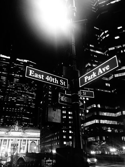 NYC Building Exterior Night Architecture Built Structure Illuminated City Low Angle View City Life Nightlife No People