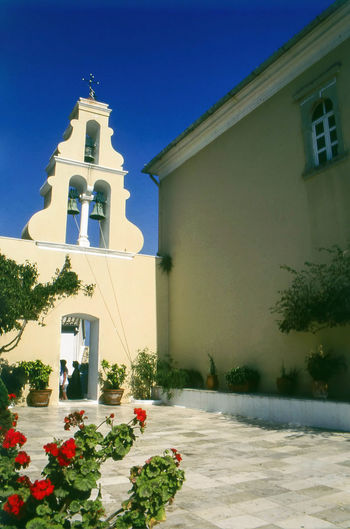 Monastery of Palaiokastritsa, Corfu, Greece. Copy Space Corfu, Greece Monastery Summertime Travel Photography Architecture Clear Sky Day Greece House Of Worship Ionian Islands Low Angle View Monastery Of Palaiokastritsa Outdoors Palaiokastritsa Place Of Worship Religion Spirituality Vertical