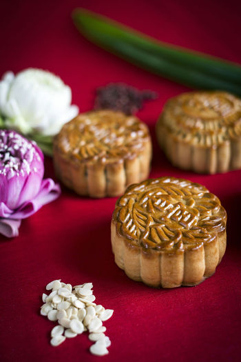 Mooncakes Cake Chinese Close-up Colored Background Day Food Food And Drink Freshness Healthy Eating Indoors  Monochrome Moon Cakes No People Ready-to-eat Red Studio Shot Sweet