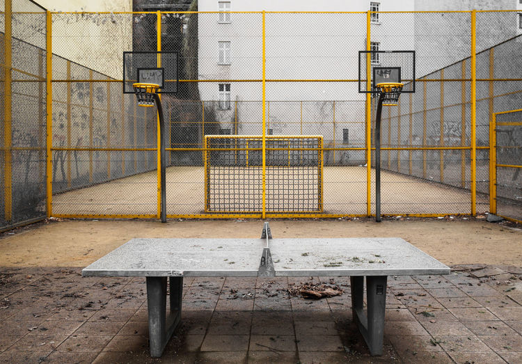 Abandoned table tennis in court