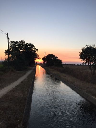 Sunset along the canal out on a bike ride, golden moments, enjoying life, breath taking