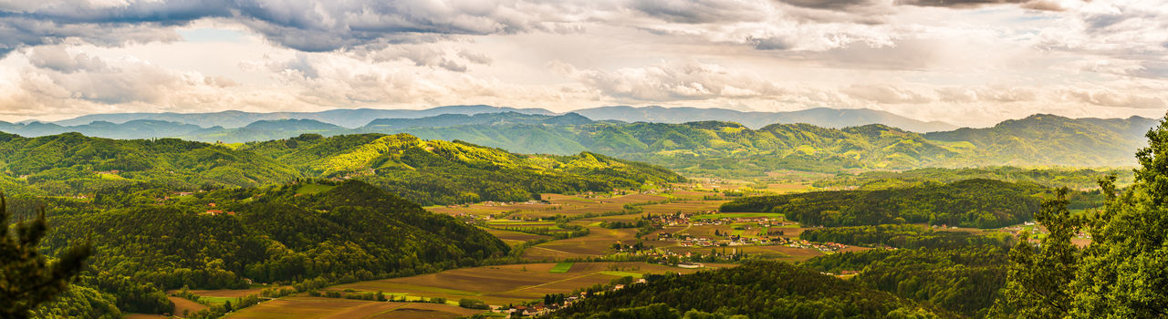Aerial panorama of of green hills and vineyards with mountains. austria vineyards landscape.