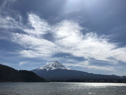 Kawaguchiko  Beauty In Nature Cloud - Sky Cold Temperature Kawaguchiko Lake Lake Mountain Mountain Range Nature No People Sky Snowcapped Mountain Volcano
