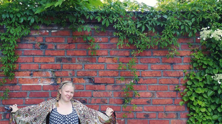 Enjoying The Sun Brick Wall And Model My Wife ♡ Brick Wall Model Soaking Up The Sun From My DoorstepEnjoying The Sun Lovely Weather Brick Wall Vines