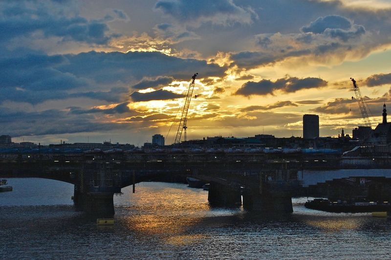River Thames Sunset, London London River Thames Arch Bridge Architecture Bridge Bridge - Man Made Structure Building Exterior Built Structure City Cityscape Cloud - Sky Connection London At Sunset No People Outdoors River River Thames London River Thames Skyline River Thames Sunset Sky Sunset Transportation Water Waterfront