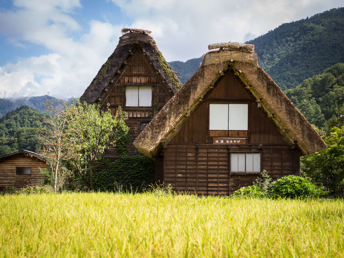 Gasshō-zukuri thatched traditional houses in japanese alps Architecture Building Exterior Built Structure Cloud - Sky Gassho-zukuri Gassho-zukuri Farmhouses Grass House Japan Japanese Alps Mountains Mountainside Mountainside Houses Nature No People Outdoors Residential Building Rice Rice Field Straw Thatched Thatched House Thatched Roof Traditional Houses Window Neighborhood Map