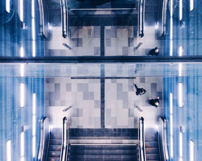 High Angle View Of Escalators