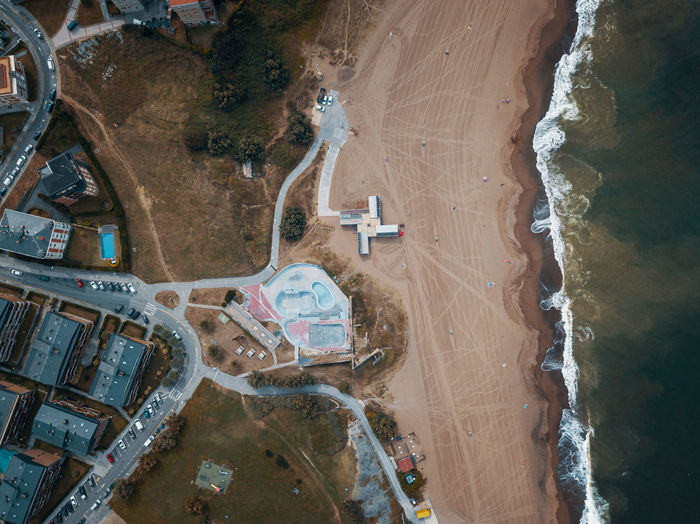High angle view of skate park next to the beach