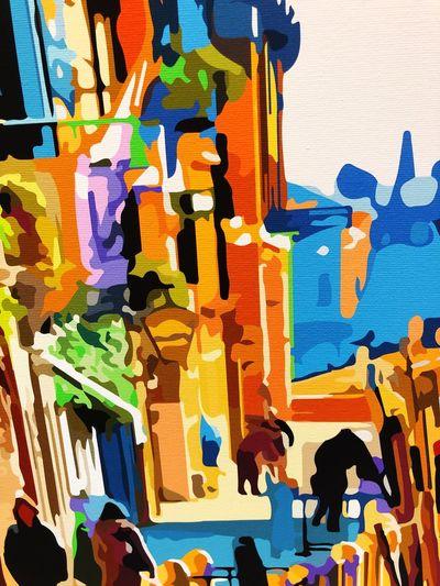 """Particolare della stampa su tela """"la calle"""" La Calle Di Venezia Levantina Factory Galleria Levantina Venezia David Ariel Multi Colored Full Frame Wall - Building Feature No People Backgrounds Creativity Art And Craft"""