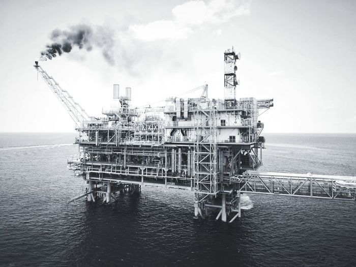 Scenery of oil and gas platform in black and white photoghpy. Black And White Photography Background Art Attraction Drilling Rig Offshore Platform Water Sea Technology Oil Pump Oil Industry Sky Horizon Over Water Oil Field Oil Petrochemical Plant Fossil Fuel Natural Gas Fuel Pump
