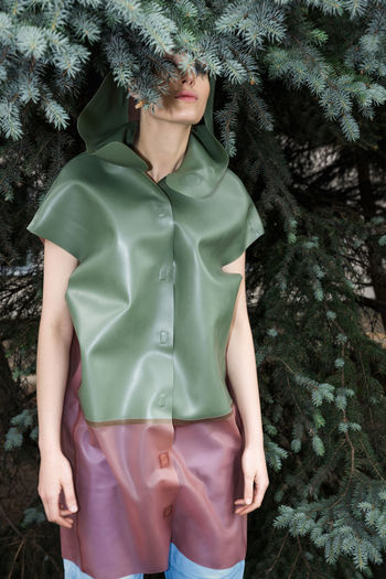 Jumper Branches Fashion Jump Linas Was Here Pine Tree Woman Evergreen Female Model Green Coat Latex Raincoat Red Lips The Fashion Photographer - 2018 EyeEm Awards Urban Fashion Jungle