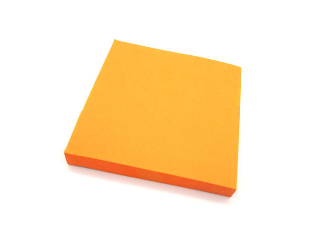 Orange paper stick note on a white background. Adhesive Note Blank Business Clean Communication Copy Space Cut Out Document Indoors  Message No People Note Note Pad Office Office Supply Orange Color Paper Reminder Shape Single Object Studio Shot White Background Yellow