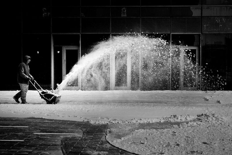 Blowing snow Streetphotography Snow Blower Blackandwhite Winter Snow Chicago Motion Spraying One Person Full Length