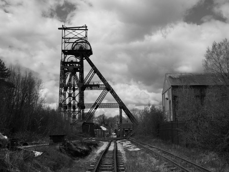 Blackandwhite Black And White Black & White Black And White Photography Colliery AstleyGreen Astley Green Industrial Heritage Industrial Landscape Coalmine Steel Structure  Headgear Rail Track
