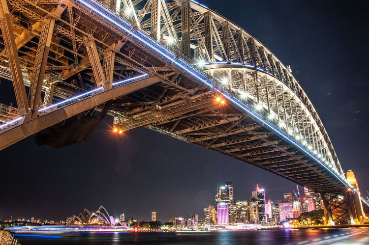 Sydney Harbour at night. Sydney Harbour Bridge Sydney Opera House Sydney, Australia Travel Travel Photography Architecture Bridge - Man Made Structure Building Exterior Built Structure City Cityscape Connection Illuminated Night No People Outdoors River Sky Sydney Sydsne Tourism Travel Travel Destinations Water Waterfront