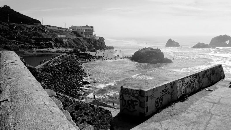 Foggy Misty Beach-Ruins Sutro Bath Ruins  Black And White Zen Distance Force Copy Space Rewilding Ocean Graffiti Defaced Water Sea Beach Rock - Object Sky Architecture Horizon Over Water Built Structure Building Exterior Rocky Coastline Tide Cliff Surf Wave Coastline Coast Rugged Rock Formation Coastal Feature Shore