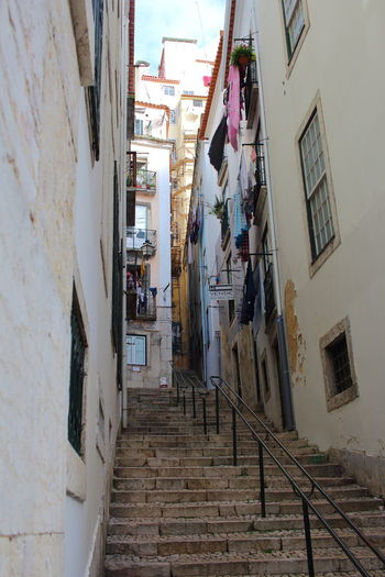 Alfama EyeEm City Lover Lissabon, Portugal Lisboa Portugal Lisbon - Portugal Architecture Built Structure Building Exterior Building Residential District Staircase Wall - Building Feature Day Railing Steps And Staircases City Window House Outdoors Low Angle View