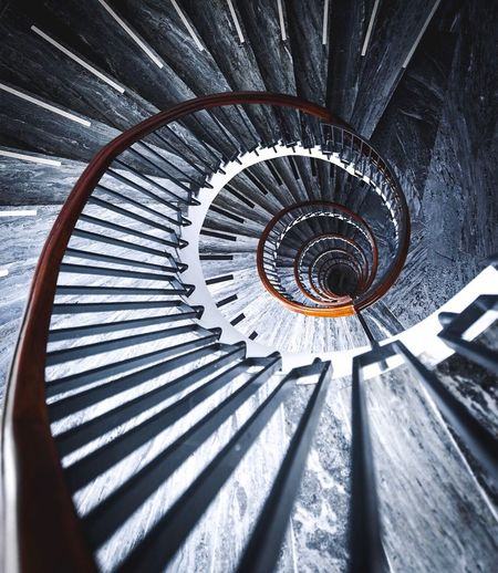 Close-up of spiral stairs