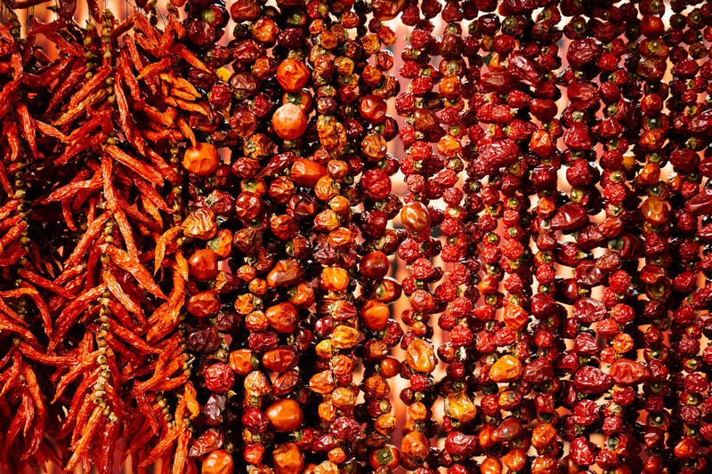 Chilli Chillis Dried Freshness Hanging Large Group Of Objects Market Market Stall Organic Red Retail