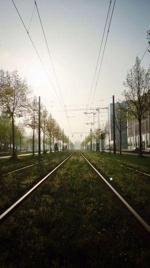 Railroad track on road