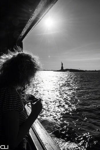 Wind in her hair... NYC Blackandwhite Libertygirl