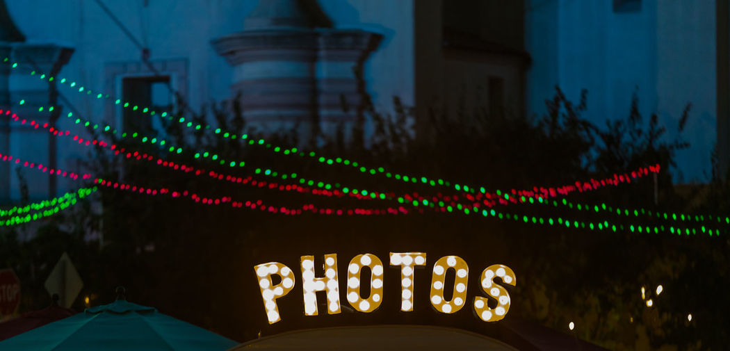 Balboa Park, San Diego, California. Photos bulb sign for photo booth. Photos Architecture Building Exterior Close-up Illuminated Low Angle View Multi Colored Neon Night No People Outdoors Photo Blogger Photo Christmas Photo Holidays Photo Winter Photography Photography Blog Photos Light Photos Text String Of Lights Take Picture Text Text Photos