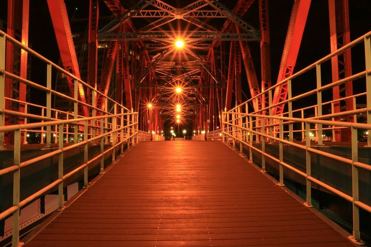 Empty illuminated bridge at salford quays