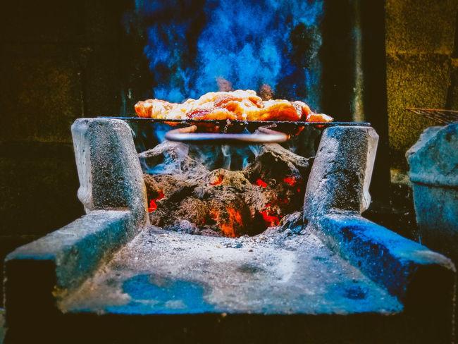 Blue Close-up Prepared Food Bonfire