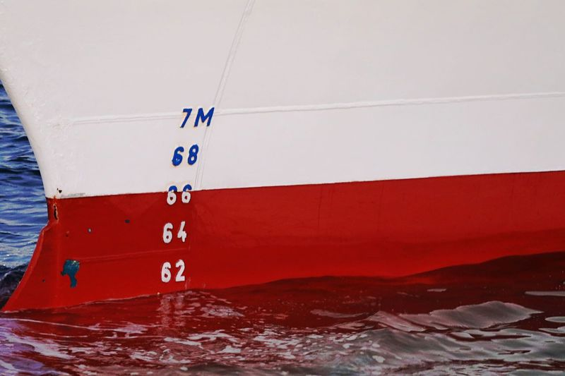 Hull Boat Day Mode Of Transport Nautical Vessel No People Number Outdoors Red And White Sea Transportation Water Water Level Water Level Indicator Waterfront