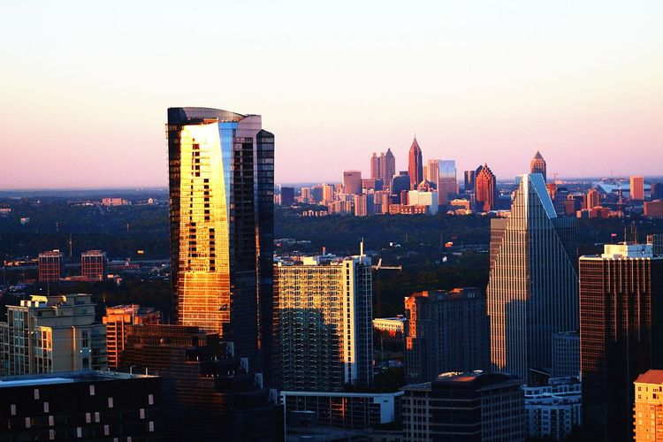 North Atlanta sunrise Skyscraper Architecture Cityscape Building Exterior Modern City Sunset Built Structure Urban Skyline Travel Destinations Clear Sky Sky Illuminated Outdoors Day Downtown District Aerialview Tourism ATL Aviation Photography Atlanta, Georgia Cityscape Aerial View Aviationphotography Tall - High