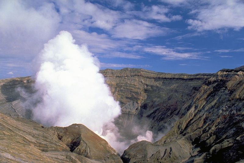 Scenic view of mount aso against sky