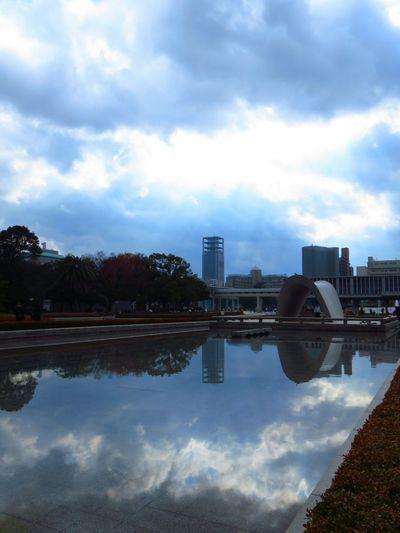 Sky Water Cloud - Sky Modern Outdoors No People City Tree Day Peace Park Peace Pond Pond Water Bilding Hiroshima Hiroshima Peace Memorial Park Park Shadows Shadow Close-up
