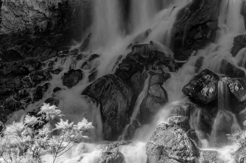 Beauty In Nature Blackandwhite Blurred Motion Flowing Flowing Water Land Long Exposure Motion Nature No People Outdoors Power In Nature Purity Rock Rock - Object Running Water Scenics - Nature Sea Solid Sport Stream - Flowing Water Water Waterfall