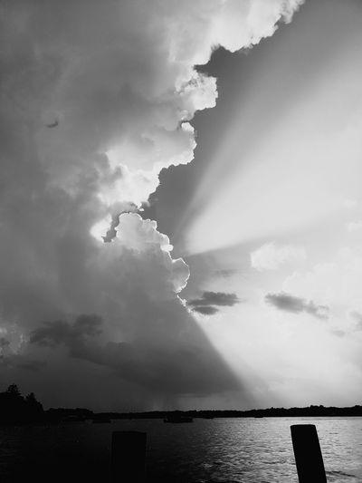 Summer Rainstorm Lightning Sea Oil Pump Storm First Eyeem Photo