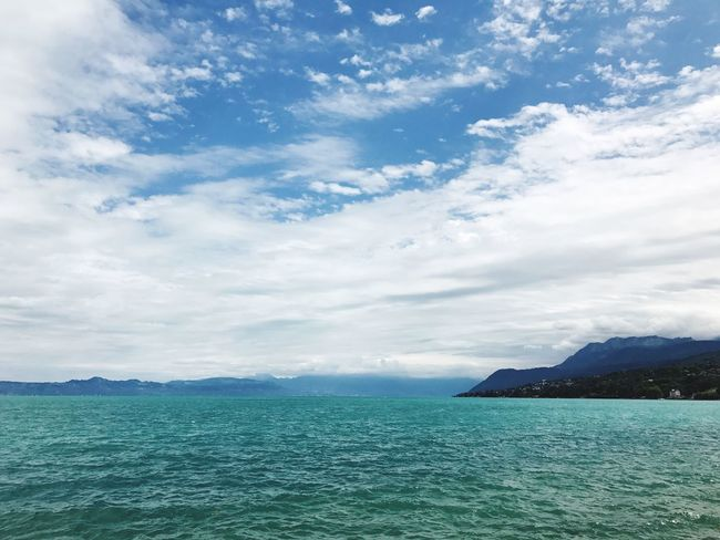Beauty In Nature Scenics Sea Sky Tranquil Scene Tranquility Nature Water Cloud - Sky Mountain Outdoors Day No People Blue Waterfront Horizon Over Water Lake Leman