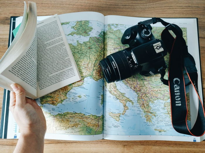 Essentials Indoors  Close-up Day Adult People Camera Travel Book Map Lost Wandering Around Wanderlust Girl First Eyeem Photo