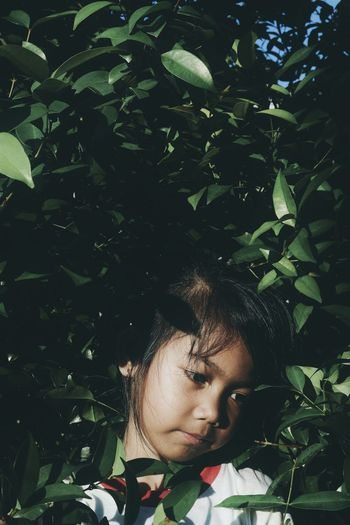 Portrait of girl in plant