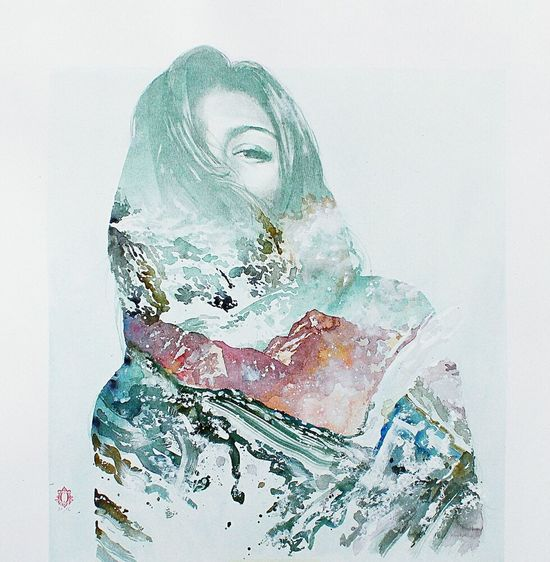 Dreamscapes & Memories One Woman Only Young Adult Only Women Adult One Young Woman Only One Person Adults Only People Portrait Young Women Human Face Close-up Day Water Color Girl Merged Pro Beauty In Nature Art