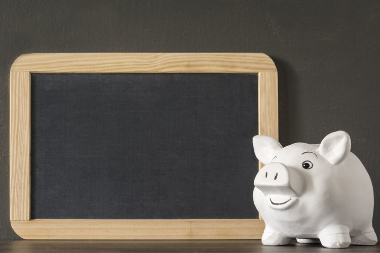 Happy smiling piggy bank with a small blank chalkboard Finance Wealth Savings Investment Copy Space Coin Piggy Bank Business Frame Chalkboard Blackboard  Happy Smile Smiling Blank Education Retirement Calculate Economy Pension Background Management Growth Note