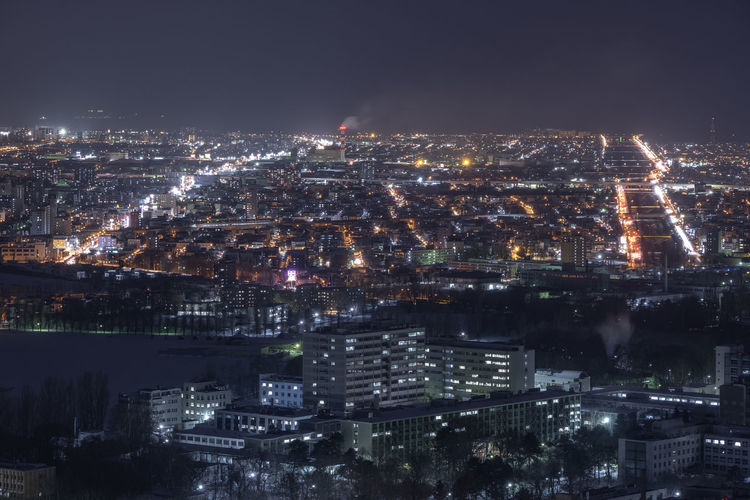 Building Exterior City Architecture Cityscape Illuminated Built Structure Night Building Crowd Crowded Sky High Angle View Residential District Nature Travel Destinations Aerial View Office Building Exterior City Life Modern Outdoors Skyscraper Sapporo Hokkaido Japan