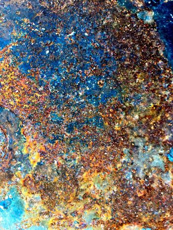 Full frame shot of Rusty texture on metal surface Texture Backgrounds Dirty Texture Rust Rusty Metal Multi Colored Full Frame Backgrounds No People Abstract Day Pattern Outdoors Low Angle View Sky Nature Art And Craft Textured  Chaos Blue Still Life Close-up Creativity Variation Celebration