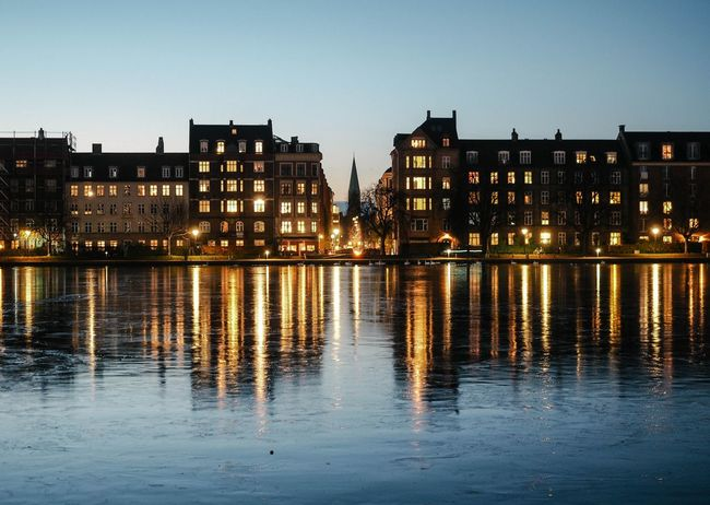 Copenhagen, Denmark Night Lights Scandinavia Winter Wintertime Architecture Building Exterior Built Structure City Cityscape Copenhagen Illuminated Night Night View No People Nordic Outdoors Reflection River Scandinavian Scandinavian Style Sky Travel Destinations Water Waterfront