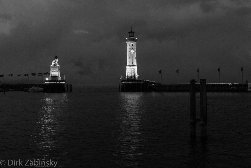 Lindau Bodensee Lindau Insel Hafen Hafeneinfahrt Lake Constance Blackandwhite Long Exposure Nightphotography